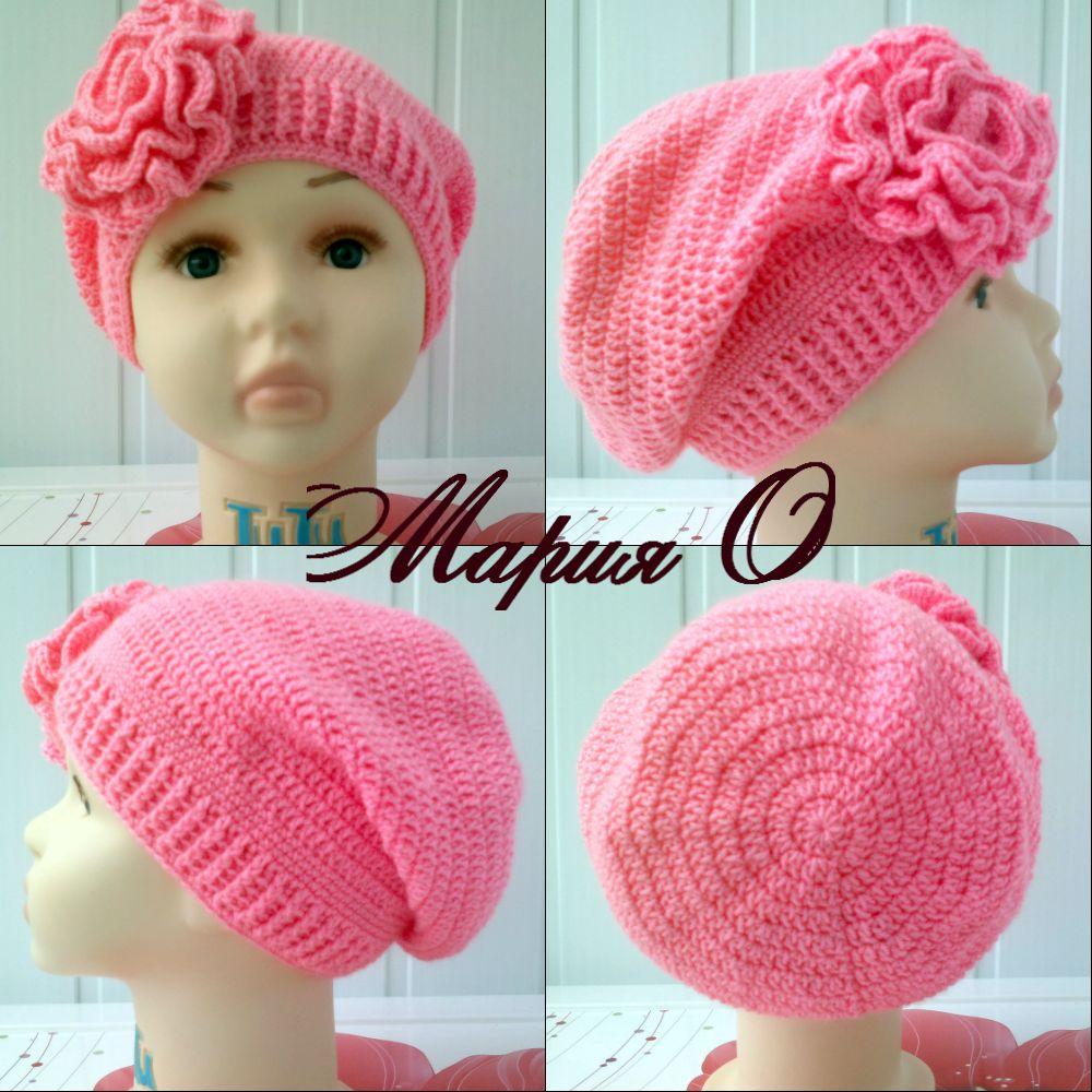 Вязание крючком шапочка для девочки для осень 19